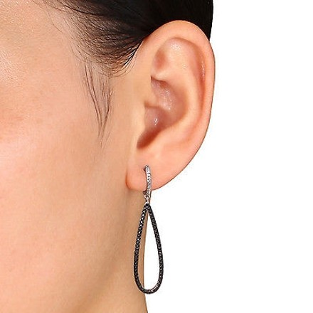 Other Sterling Silver 110 Ct Tw Black And White Diamond Ear Pin Earrings Gh I2i3