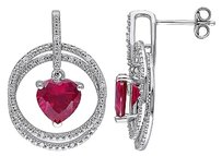 Other Sterling Silver 16 Ct Diamond And 5.68 Ct Ruby Heart Drop Earrings Gh I2i3