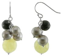 Silver Freshwater Grey Pearl Dark Coffee Yellow Agate Drop Earrings 30 Ct