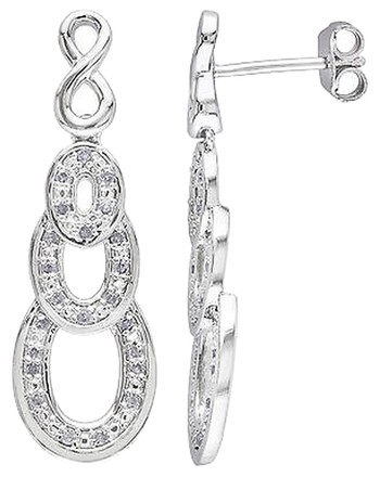 Other Sterling Silver 14 Ct Diamond Infinity Drop Dangle Earrings Gh I2i3