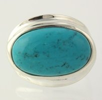 Other Dyed Howlite Ring - 925 Sterling Silver Womens Fashion Blue Stone
