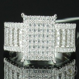 Edgy Princess Cut Style Pave Set 2ct Look Women Cocktail Silver Promise Band