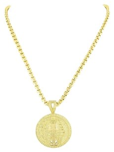 Other Egyptian Pharaoh Pendant Chain Iced Out Simulated Cz 14k Gold Finish Chain 2mm