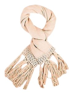Other Electric Feather Beige Tan Woven Chunky Knit Fringe Trim Scarf