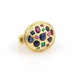 Elegant 18k Yellow Gold 3.00ct Sapphire Ruby Emerald Cigar Ring-size