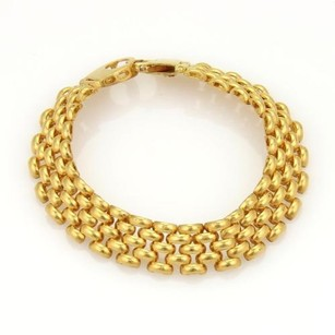 Elegant 22k Yellow Gold 11mm Wide Panther Rows Link Wide Bracelet