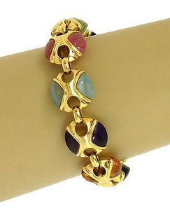 Other Elegant 60ct Multi-color Gemstones 18k Yellow Gold Fancy Design Bracelet
