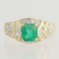 Other Emerald Diamond Ring - 14k Yellow Gold May Birthstone Gift Genuine 1.40ctw