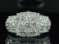 Diamond Engagement Ring Ladies 14k White Gold Baguette Round Design 1.50 Tcw.