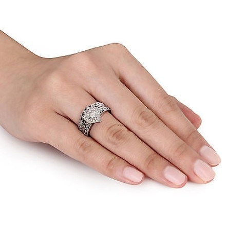 Other Sterling Silver 15 Ct Diamond Heart Bridal Set Engagment Band Ring Gh I2i3