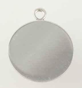 Other Engravable Circle Charm - Sterling Silver 925 Pendant Polished Womens Estate