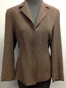 Other Epic York Brown Wool Lined Long Sleeve Hidden Button Front Blazer 1541