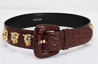 Escada Brown Croc Stamped Leather Gold Lion Head Detail Waist Belt