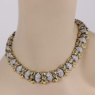 Other Estate 14k Tone Heavy Link 5ct Pave Diamond Fashion Necklace