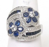 Estate 14k Wgold 2.70ctw Diamond Wwhite Blue Sapphire Floral Ring