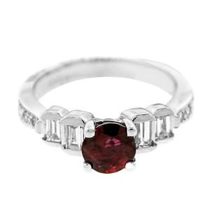 Other Estate 14k White Gold 0.65ct Diamond And Ruby Centered Ring