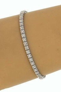 Estate 14k White Gold 1ctw Round Cut Diamond Engraved Tennis Bracelet