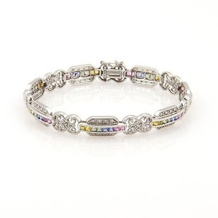 Estate 14k White Gold Diamond Rainbow Sapphire Link Bracelet