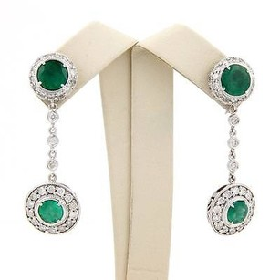 Other Estate 14k White Gold Emerald Diamond Dangle Drop Earrings