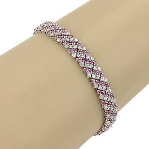 Estate 14k White Gold Pink Sapphire Diamond Heart Bracelet