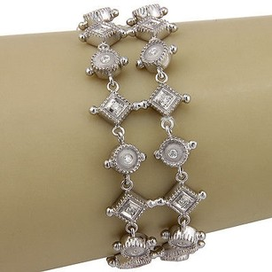 Estate 14k White Gold Row Diamond Link Fashion Bracelet 7