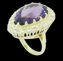 Estate 14k Yellow Gold 1.25 Tcw Vs1 E Diamond 21 X 15mm Amethyst Ring 12.1g R633