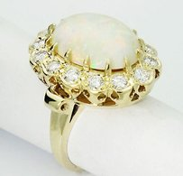 Estate 14k Yellow Gold 1.40 Carat Vs G Diamond Opal Ring 6.25 R70