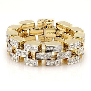 Other Estate 14k Yellow Gold 9ct Diamond Link Bracelet -