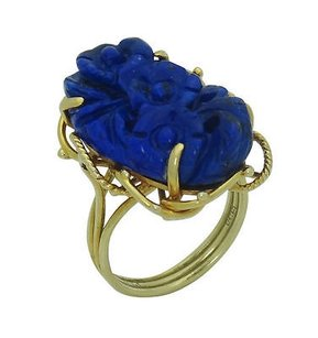 Estate 14k Yellow Gold Carved Lapis Ring R409