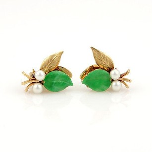 Estate 14k Yellow Gold Jade Pearl Leaf Earrings