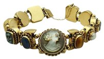 Other Estate 14k Yellow Gold Multi Color Gemstone And Cameo Victorian Bracelet B150