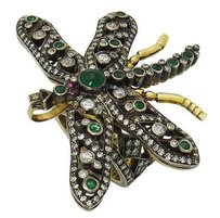 Estate 18k Gold Silver Tcw Emerald Diamond Ring Dragonfly Pendant R447