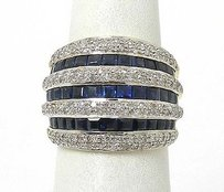 Estate 18k Two Tone Gold 3.15ctw Diamond Blue Sapphire Wide Dome Ring