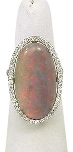Other Estate 18k White Gold 12.20ctw Fire Opal Diamond Solitaire Waccent Ring
