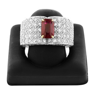 Estate 18k White Gold 250 Diamond Embellished Heart Shaped Ruby Ring