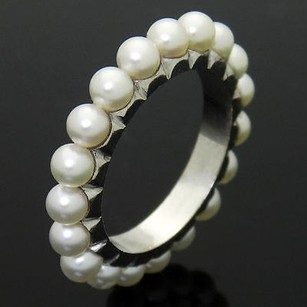 Estate 18k White Gold Cultured Pearl Eternity Band Ring R328
