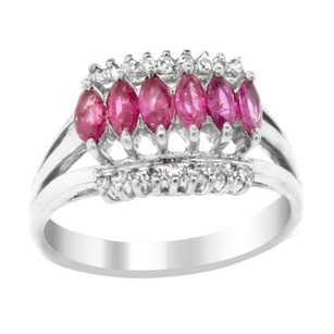 Other Estate 18k White Gold Diamond And Pink Sapphire Split Shank Ring