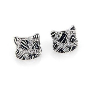 Estate 18k White Gold Fancy Diamond Zebra Striped Enamel Huggie Earrings