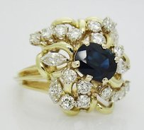Estate 18k Yellow Gold 3.25tcw Natural Sapphire Diamond Cocktail Ring R39