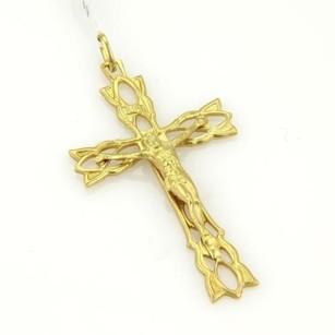 Estate 18k Yellow Gold Crucify Carved Charm Pendant