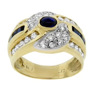 Other Estate 18k Yellow Gold Diamond And Sapphire Twist Ring