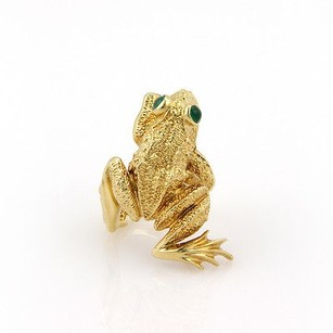 Other Estate 18k Yellow Gold Frog Fashion Ring With Green Onyx - 6.75