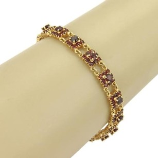 Estate 18k Yellow Gold Garnet Gemstone Rosette Link Bracelet
