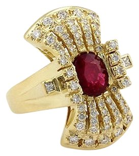 Other Estate 18k Yellow Gold Ruby Diamond Cocktail Ring