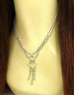 Other Estate 2.50ct Fancy Yellow White Diamonds Double Strand Open Heart Necklace