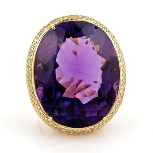 Estate 30.50ct Amethyst Diamonds 18k Yellow Gold Oval Ring
