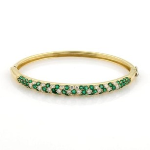 Estate 3.50ct Diamonds Emerald 18k Yellow Gold Bangle Bracelet