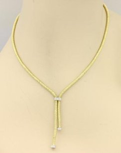 Estate Diamond Wire Wrap Lariat 18k Gold Necklace