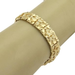 Estate Gold Nugget 14k Yellow Gold 11mm Textured Bracelet