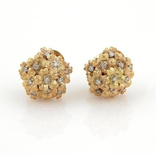 Other Estate Movable Diamonds Spring Flowers Cluster Earrings In 18k Yellow Gold